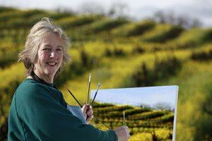 Donna Schaffer Plein Air painting a vineyard